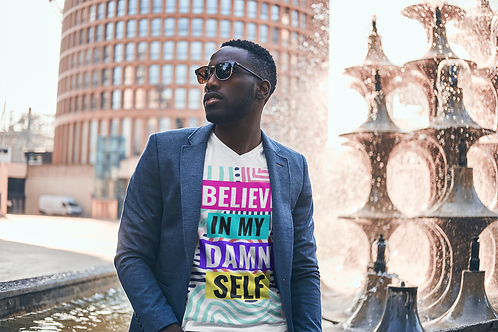 Believe In My Damn Self Premium Fitted Men's V-Neck