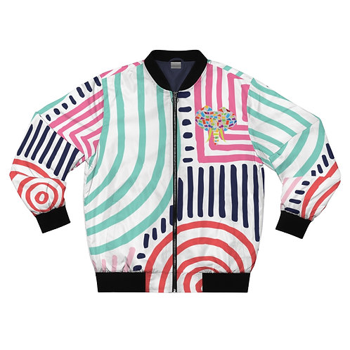 Believe In My Damn Self Bomber Jacket-Multicolored Logo