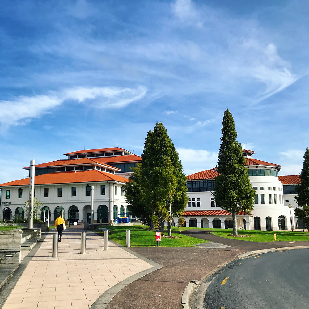 The main building of  Massey University in Albany