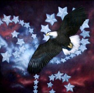 eagle fine art, American bald eagle painting, patriotic oil painting, 4th of July artwork, Ohio art, Wauseon Ohio artist