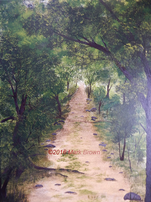 path through woods, forest trail, midwest forested area, Northwest Ohio art, rural ohio painting