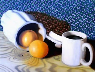 oranges and coffee painting, orange and blue artwork, still life with coffee, original coffee art, country still life painting, nw ohio artist, Ohio fine art