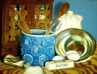 baking stuff painting, baker's still life artwork, realistic still life baking supplies, blue still life original oil painting, northwest ohio art, country baking artwork