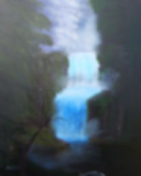 waterfall with trees, waterfall with mist, northwest ohio art, blue and green nature painting, waterfall landscape