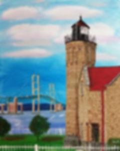 Mackinaw original art, Mackninac artwork, Mackinac bridge painting, old mac point lighthouse art, lighthouse original art, Michigan original art, northern michigan painting, northwest ohio artist