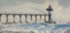 Manistee Lighthouse painting, manistee peirhead lighthouse artwork, light house in storm art, November gale painting, northern michigan artwork, northwest Ohio artist