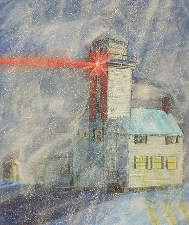 lighthouse in blizzard art, Cheboygan Range Lighthouse painting, winter storm lighthouse artwork, blizzard painting, northern mi artwork, Cheboygan MI painting, OH artist, Williams County OH artist