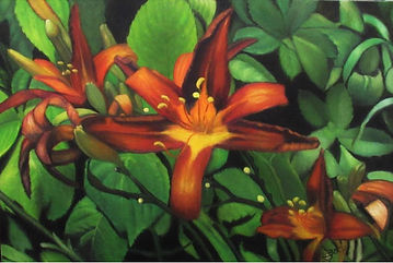 Coleman House painting, day lily original art, orange floral artwork, green and orange painting, green leaves oil painting, garden fine art, day lily original oil painting, ohio fine art, ohio floral artist