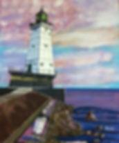 Leaning Lighthouse of Ludington painting, Ludington original art, lighthouse artwork, Michigan lighthouse original art, Lake Michigan artwork, OH artist, Edgerton Ohio artist