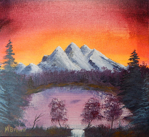 sunrise over mountains painting, orange sky and mountains artwork, mountain lake sunrise art, ohio artist, northwest ohio art