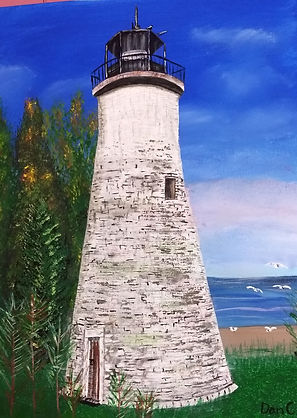Presque Isle original art, old presque isle lighthouse painting, Northern Michigan lighthouse artwork, lighthouse original art, nw ohio artist, northern michigan art