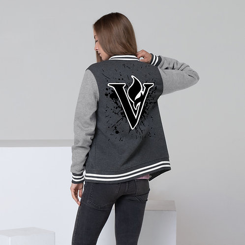Women's V Flame Paint Letterman Jacket