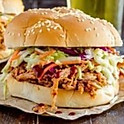 Pork Sandwich with Cole Slaw & Cinnamon Apples
