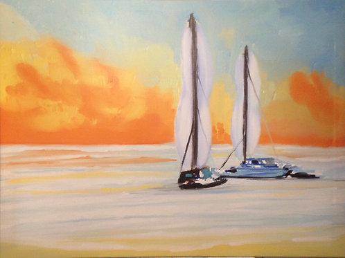 Sunset rest from port Vendre Beach