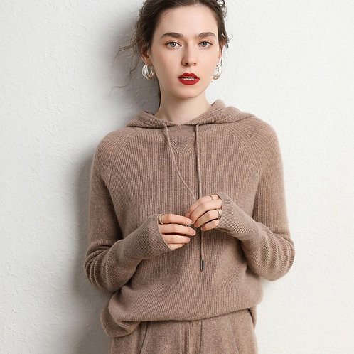 Autumn and Winter Women's Cashmere Suit Hooded Sweater Cashmere