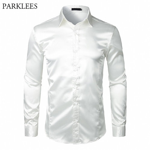 Stylish White Silk Satin Shirt Men Chemise Homme 2018 Casual Long Sleeve
