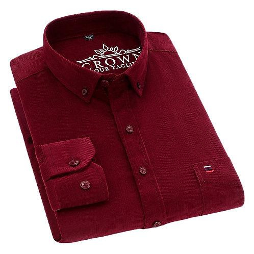 Cotton Corduroy Shirt Men Long Sleeve Button Collar Quality Warm Easy Care