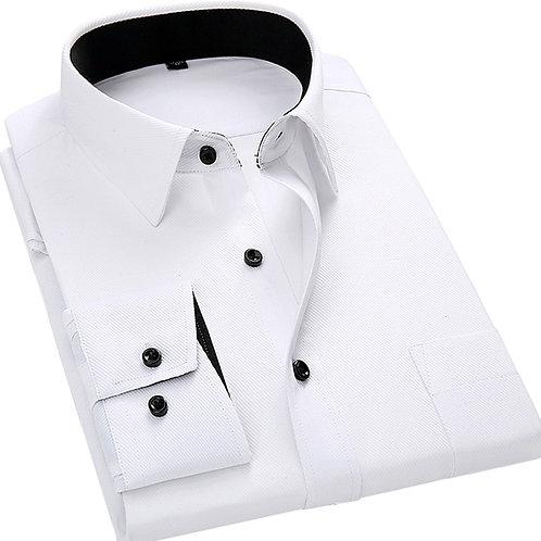 Men Long Sleeved Shirt Slim Fit Style Design Solid Color Business Casual Dress