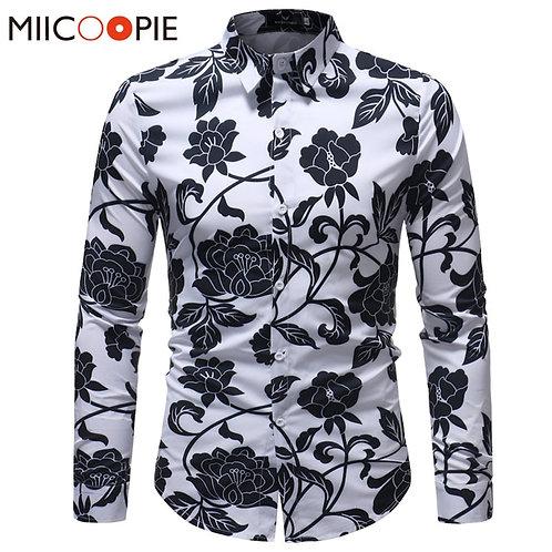 Black Retro Rose Printed Slim Dress Shirts Camisa Masculina Chemise Homme 5XL