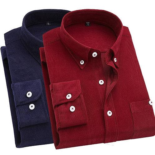 2019 Men Shirt Long Sleeve Slim Fit Brand Corduroy Shirt Men Business Shirts