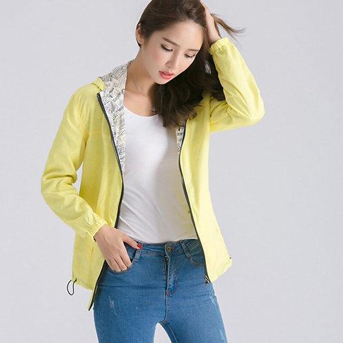 2021Autumn Women Basic Jacket Coat Two Side Wear Print Cartoon Pocket Zipper