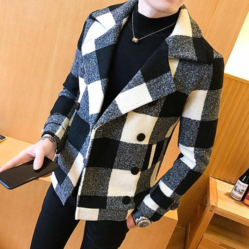 2021 Brand Clothing Men High Quality Leisure Plaid Woolen Cloth Coat/Male Slim