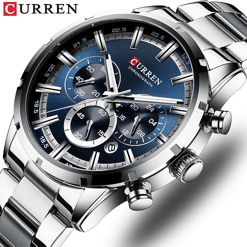 CURREN Top Brand Military Quartz Watches Silver Blue Mens Stainless Steel Chron