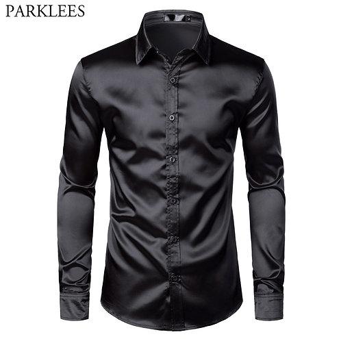 Men's Black Satin Luxury Dress Shirts 2019 Silk Smooth Men