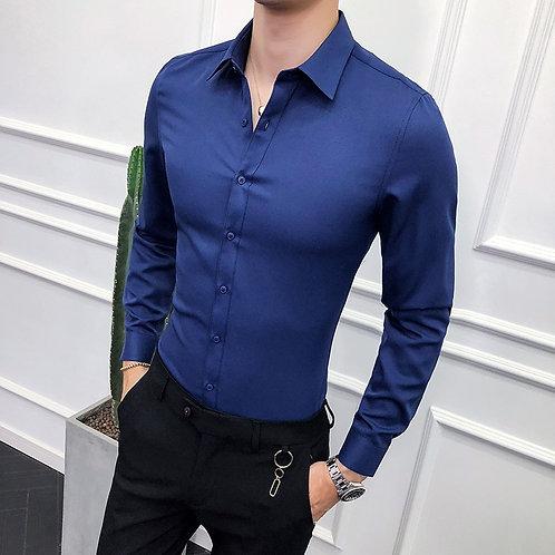 High Quality Men Shirt Long Sleeve Solid Formal Business Shirt Slim Fit Brand