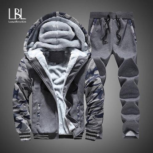 New Winter Tracksuits Men Set Thick Fleece Hoodies+Pants Suit Zipper Hooded