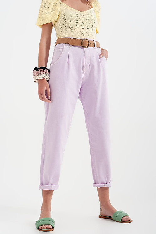 High Rise Mom Jeans With Pleat Front in Lilac