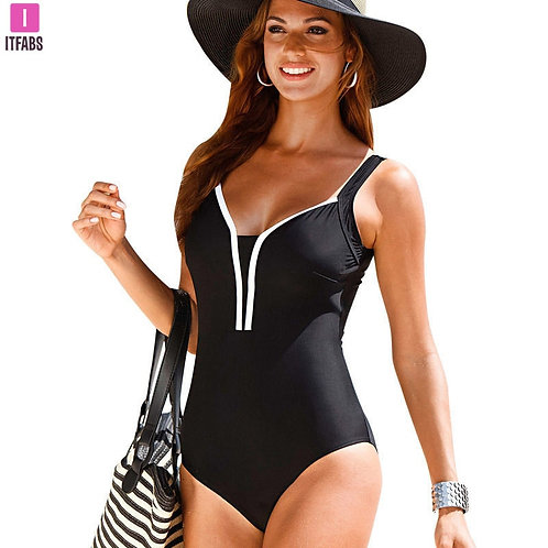One Piece Swimsuit Women Solid Color Backless Swimwear Bathing Suit Monokini