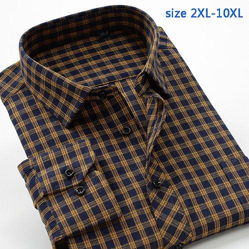 New Arrival Plaid Fashion High Qulatiy Men's Super Large 10xl Long-Sleeve Shirt