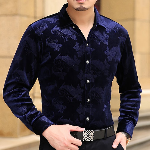 Spring Summer Thin New Flannel Designer Slim Fit Mens Casual Turn- Down Collar