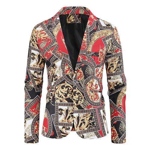 Mens Button Luxury Floral Printed Suit