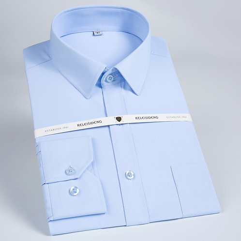 Men's Classic Regular-Fit Solid Twill Dress Shirt Long Sleeve With Breast Pocket