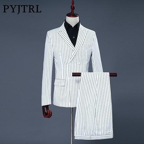 PYJTRL Brand Men's Two Piece Set White Stripe Dress Suits Wedding Suits