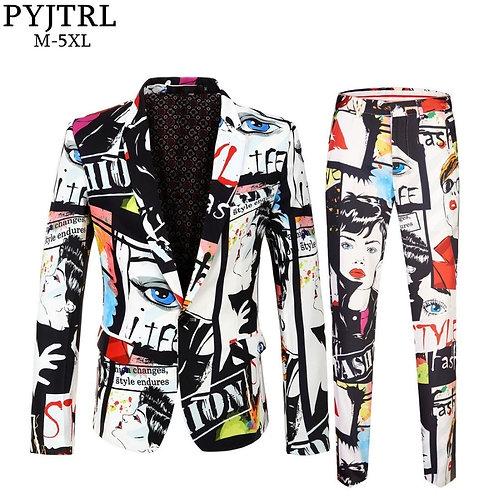PYJTRL Brand Tide Mens Fashion Print 2 Pieces Set Casual  Size Hip Hot Male Slim