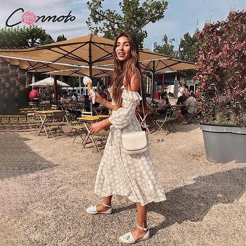Conmoto Twist Off Shoulder Casual Women Dress Ruffle Beach Summer Dresses Female