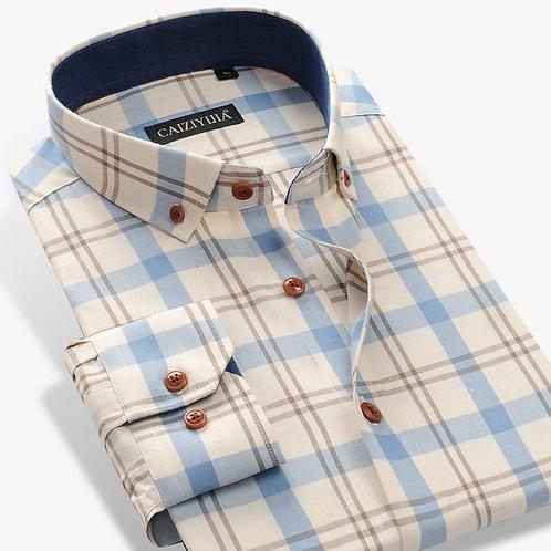 Men's 100% Cotton Long Sleeve Contrast Plaid Checkered Shirt Pocket-Less Design