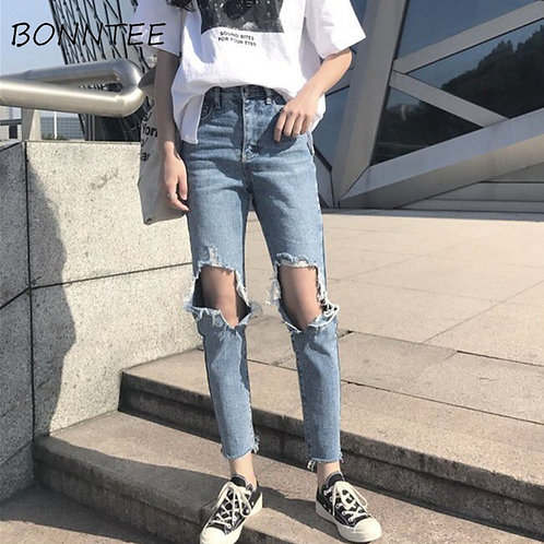 Jeans Denim Women Holes Zipper Pockets Straight Retro Casual Womens Slim High