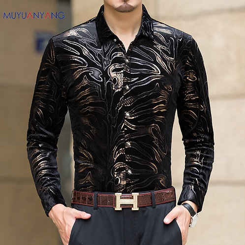 Mu Yuan Yang New Men Long Sleeved Shirts With High Quality Flannel Black Shirt