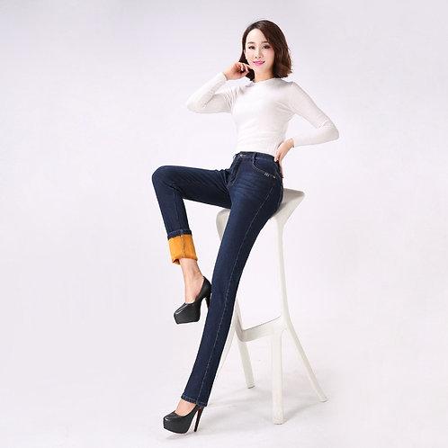 Jbersee Cashmere Warm Jeans Winter Women Jeans for Women High Waist Jeans Femme