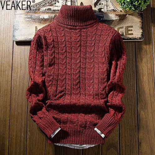 2019 New Men's Solid Color Twist Turtleneck Sweater Male Autumn Winter