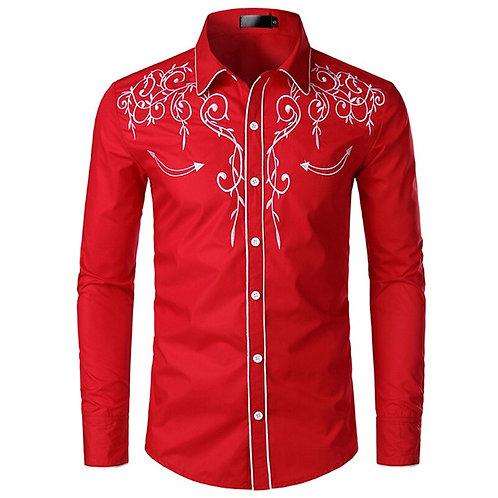 Embroidered Shirt Man,Western Style Shirt,Men's Long Sleeve Shirt,Shirt Man,