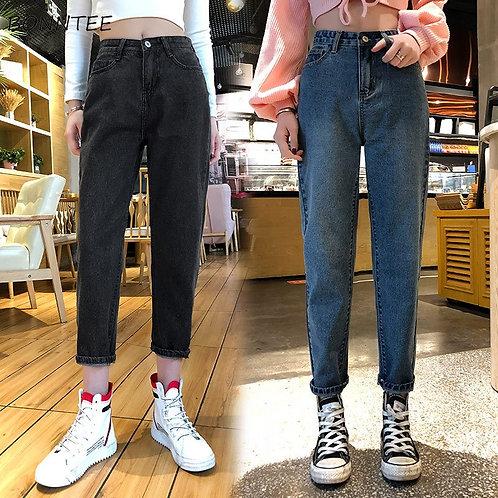 Jeans Women Plus Size Denim Solid Vintage Womens High Waist Trousers Ankle