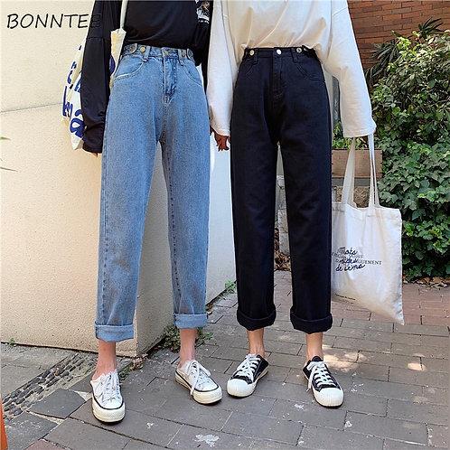 Jeans Women High Quality Denim Long Trousers Streetwear Korean Style Harajuku