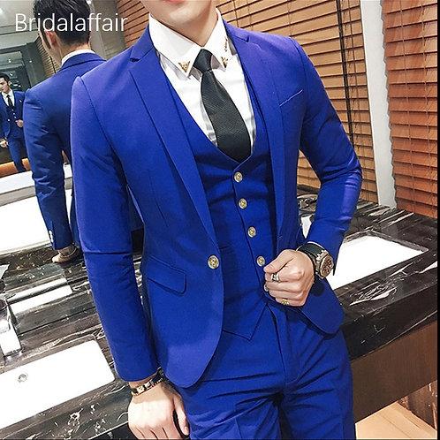 KUSON Royal Blue Men Suit 3Pcs 2018 Formal Suit Mens Prom Wedding Bridegroom Tux