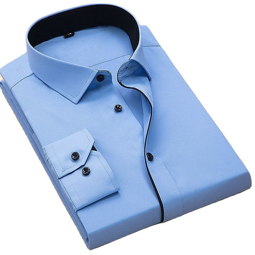 Plus Size 8xl  Fashion Soft  Turn Down Collar Black Button Long Sleeved Twill