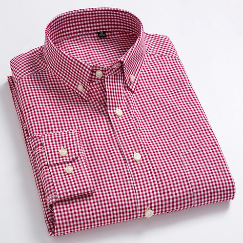 Men's Standard-Fit Long-Sleeve Micro-Check Shirts Patch Pocket Thin Soft 100%